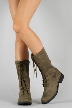 KC Round Toe Military Lace Up Boot