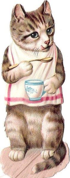 Glanzbilder - Victorian Die Cut - Victorian Scrap - Tube Victorienne - Glansbilleder - Plaatjes : Katzen beim Frühstück
