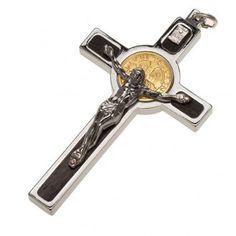 Pendente Croce San Benedetto acciaio, argento 925, oro 18K | vendita online su…