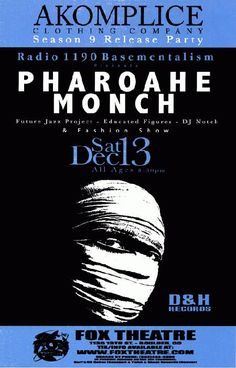 Original concert poster for Pharoahe Monche at the Fox Theatre in Boulder, Colorado. 11x17 on thin paper