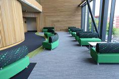 burmatex tufted carpet tiles -  Bradford College, Yorkshire   burmatex, flooring, carpet, carpet tiles, green, education interior