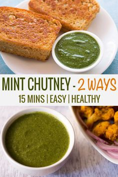 this pudina chutney recipe is easy, quick and takes less than 15 minutes to make. the recipe post shares 2 ways of making pudina chutney. you can serve pudina chutney with tandoori snacks, kababs, chaat snacks or tea time snacks. Indian Mint Chutney Recipe, Pudina Chutney Recipe, Coriander Chutney Recipe, Chutney Recipes, Veg Recipes, Indian Food Recipes, Vegetarian Recipes, Cooking Recipes, Ethnic Recipes