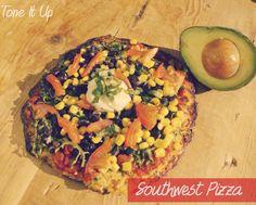 Southwest Pizza w/ cauliflower crust. Looks yummy.