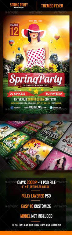 Spring Party Flyer  Party Flyer Font Logo And Fonts