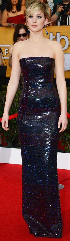 #JenniferLawrence dazzled in Dior at the SAG Awards www.kathyconfer.com #NaturallyBeautiful #PermanentMakeup