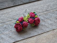 Miniature flowers earrings Small flowers earrings by MetallyFlower