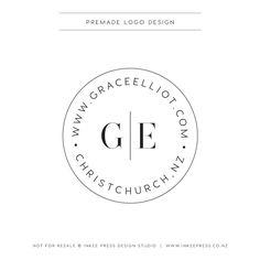 Premade Logo - Round , Stamp, Monogram, Simple, Linea by InkeePress on Etsy https://www.etsy.com/listing/264591243/premade-logo-round-stamp-monogram-simple