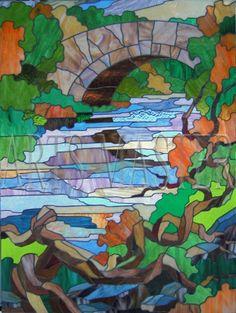 "Landscape with Bridge, Tiffany - MDM ""Arz-Master."" Art workshops Artsybusheva Alexander and Helen."