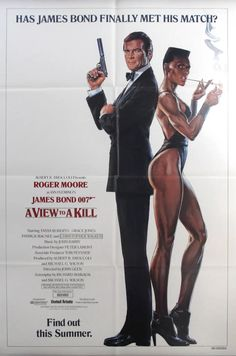 For Sale on - Original Vintage 007 James Bond Movie Poster - A View To A Kill - Roger Moore, Paper by Dan Goozee. Offered by Antikbar Limited. James Bond Movie Posters, James Bond Movies, Cinema Posters, Film Posters, Roger Moore, Mystic Messenger Memes, Bond Cars, Grace Jones, Actresses