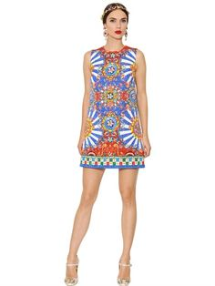 DOLCE & GABBANA - CARRETTO PRINTED COTTON BROCADE DRESS - LUISAVIAROMA - LUXURY SHOPPING WORLDWIDE SHIPPING - FLORENCE