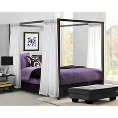 Dorel Modern Style Canopy Queen Size Metal Bed Frame w/ 22 Metal Slats, Black