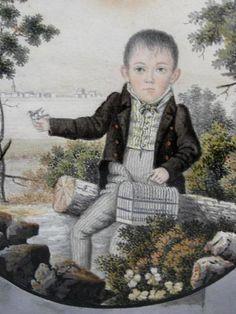 Antique American Folk Art Portrait Landscape Watercolor Painting Young Boy, Bird