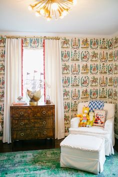 Adorable Bedroom By Bailey McCarthy With Brunschwig And Fils Battle Of Valmy Wallpaper