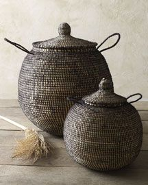 sucker for handsome baskets! Two Woven Baskets traditional baskets, Straw and Wool African baskets Basket Weaving, Hand Weaving, Woven Baskets, Rustic Baskets, Traditional Baskets, Decorative Storage, Handmade Home Decor, Wabi Sabi, Accent Decor