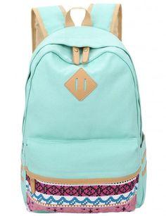 Leaper Causal Style Lightweight Canvas Laptop Bag/Cute backpacks/ Shoulder Bag/ School Backpack/ Travel Bag Water Blue