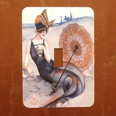Mermaid on the Beach  Vintage French Magazine by Polkadotdog