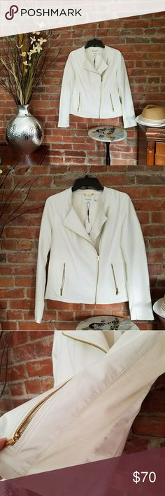 NWT Calvin Klein Moto Coat This is a beautiful faux leather coat!   A soft white with gold hardware makes this a statement piece! Calvin Klein Jackets & Coats Blazers