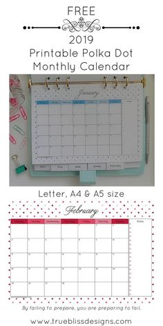 Download your free 2019 printable calendar today! This landscape monthly calendar has a different cute polka dot design for every month and is available in Letter, A4 and A5 size so whether you intend to use it in a planner or binder, there is a size to f Free Calender, Calender Template, A5 Planner Printables Free, Free Printable Calendar, Printable Templates, Filofax, Polka Dot, Adulting, Planners