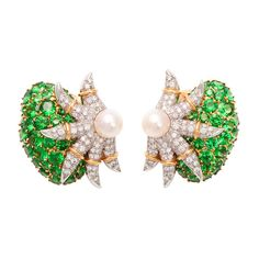 """Tsavorite Garnet and Diamond """"Starfish"""" Earclips, Jean Schlumberger for Tiffany & Co.  I must say that this is my favorite earclip design Schlumberger ever produced."""