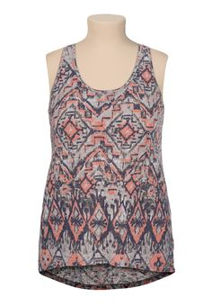 High-low tribal print racerback plus size tank - maurices.com
