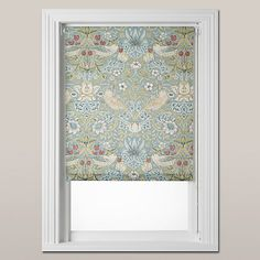 Morris & Co Strawberry Thief Roller Blind, Eau de Nil - new blinds for the kitchen. Cool Curtains, Linen Curtains, Curtains With Blinds, Curtain Panels, Roller Shades, Roller Blinds, Hallway Inspiration, Interior Inspiration, Pull Down Blinds