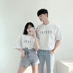 Image may contain: 1 person, standing Matching Couple Outfits, Matching Couples, Cute Couples, Korean Couple, Fashion Couple, Teen Fashion Outfits, Fashion Dresses, Couple Aesthetic, Aesthetic Clothes