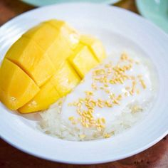 This is very good. Good with strawberries too. Thai dessert - Sticky rice with Mango