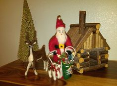 Needle Felted Santa and Needle Felted Deer by Julie King