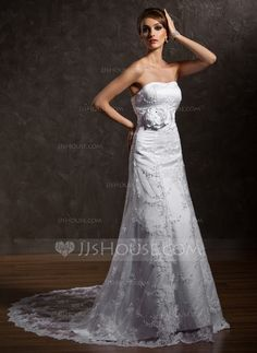 Wedding Dresses - $182.89 - A-Line/Princess Sweetheart Court Train Satin Lace Wedding Dress With Beading Flower(s) (002011635) http://jjshouse.com/A-Line-Princess-Sweetheart-Court-Train-Satin-Lace-Wedding-Dress-With-Beading-Flower-S-002011635-g11635
