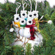 White Felt Polar Bear Christmas Ornament by MerrilyMadeChristmas