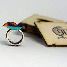 Wooden Bird Ring Nature Inspired Creative Jewelry by WoodsyS