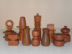 Jens Harald Quistgaard set of 10 Dansk teak pepper mills and salt shakers from the 1960s.