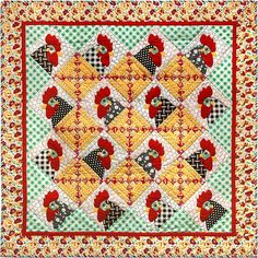 """Pecking Order, 48 x 48"""", pattern by Janet Locey at Hen Scratch Quilting.  Log cabin blocks alternate with roosters."""