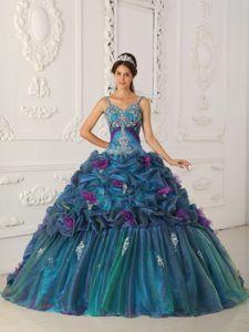 Spaghetti Straps Multi-color Ball Gown Dress Style Chapel Train