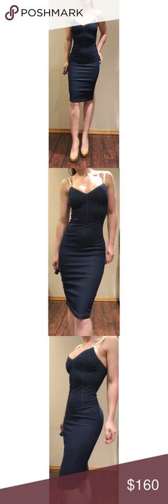 """D&G Blue Denim Stretch Bodycon Pencil Dress 4 Ultra hot D&G dress. Crafted from a stretchy denim to hug your curves to perfection. Sweetheart neckline. Beige adjustable spaghetti straps . Zips up back. Pair with red peep toe sling back heels and a beige straw handbag for a perfect spring look.  Condition: very good. No signs of wear. Zipper is difficult to pull up but functional.  Size 40 or US 4.  Measurements taken laying flat: Bust: 16"""" Waist: 13 Hips: 17.5"""" Length: 41"""" *****Material is…"""