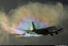 Amazing condensation and shadow patterns as this 747 departs Amsterdam. The 747 will always be the Queen of the Skies!