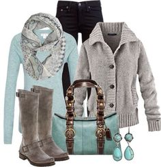 Turquoise plus grey with saddle boots. Fashionable fall outfit