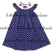 Navy with white dots smocked bishop dress DR 1648. Feature:  Lovely smocked dress for baby girls on 4th of July day, smocked pattern: flag.   Material : Navy with white dots.   Supply type: OEM service.  Technic : hand smocked