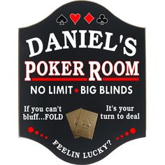 35 Awesome Man Cave Signs | All Gifts Considered. Poker room man cave plaque.