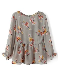 Retro Style Flower Print Blouse With Flouncing Hem
