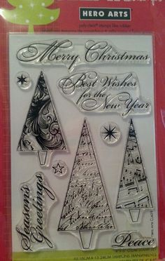 MERRY CHRISTMAS TREES Hero Arts Clear Stamps HOLIDAY Sayings MUSICAL Ornate Snow #HeroArts #SnowflakesSayingsMusicOrnateTree