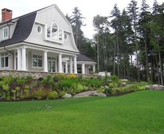 Woodland Estate - Traditional - Landscape - manchester NH - by Woodburn & Company Landscape Architecture, LLC Dutch Colonial Homes, Colonial House Plans, Exterior House Colors, Exterior Design, Gambrel Roof Trusses, Usa House, Sloped Backyard, New England Homes, Traditional Landscape
