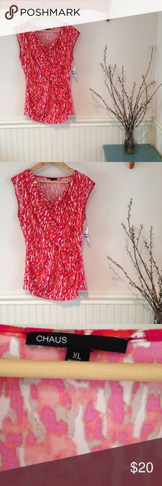 """NWT Chaus hot pink """"polished safari"""" V-neck shirt NWT. Flattering design has v neck, faux Wrap style, with weighted fabric gathered at neckline. Hot pink, tan, and cream """"polished safari"""" abstract pattern.  Sleeveless. Chaus Tops Tank Tops"""