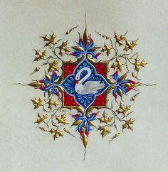 le cygne navré, emblème du duc de Berry - détail d'une frise ornant les Grandes Heures