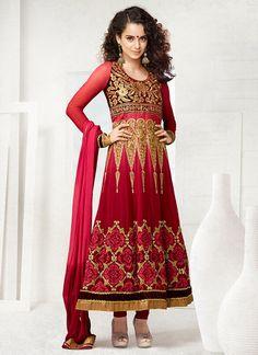Voguish Kangana Ranaut Red Georgette Anarkali Suit