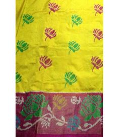 Yellow Pure Handloom Ikkat Pochampally Silk Saree