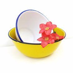 Vintage Graniteware Serving Bowls Enamelware Dishes Yellow Black White Blue Enamel Kitchenware Country Farmhouse