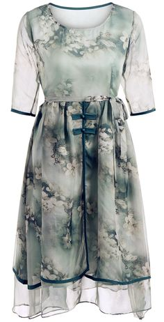 9f4601f17a Floral Print Two-Layered Belted Full Dress