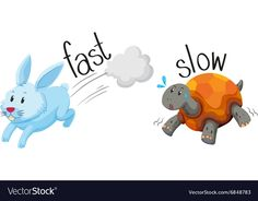 Rabbit runs fast and turtle runs slow Royalty Free Vector Body Preschool, Preschool Learning, Preschool Activities, Teaching Kids, Play Based Learning, English Opposite Words, Learn English Words, English Lessons, Learning English For Kids