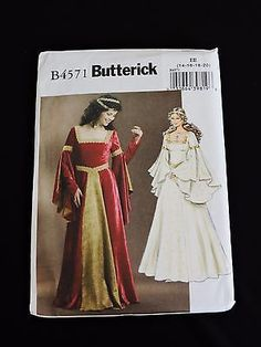 Renaissance Medieval Gown Costume Butterick Sewing Pattern B4571 Sz 14-20 Cape